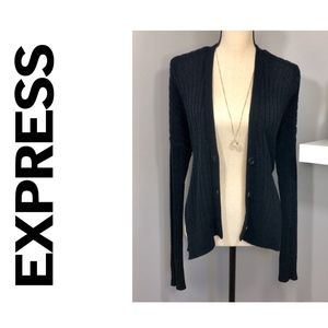 Black Knitted Hi-Lo V-Neck Cardigan by Express XS